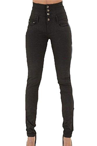 Donna Fanvans Stretto Alta Black Jean Skinny Vita Jeans Regolare Tratto TxdIxrw