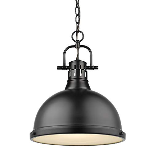 Golden Lighting 3602-L BLK One Light Pendant Black