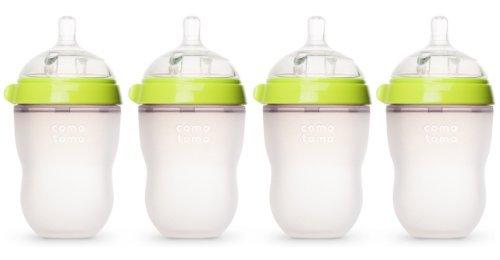 Comotomo Natural Feel Baby Bottle, 4 Pack (Green, 8 oz)