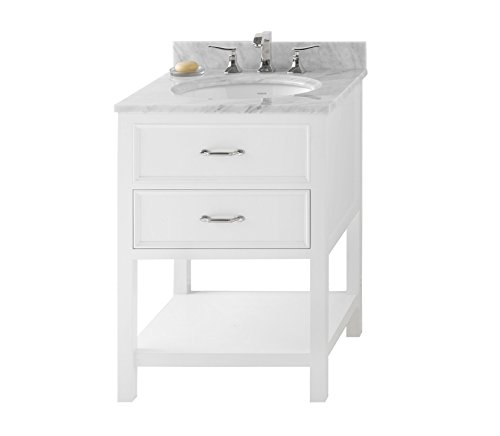 RONBOW Newcastle 25 inch Bathroom Vanity Set in White, Bathroom Vanity with Top in White Marble, Bathroom Vanity Cabinet with Soft Close Drawers, White Oval Ceramic Vessel Sink 052724-W01_Kit_1