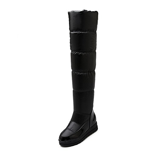 WeiPoot Women's Blend Materials Solid Closed Toe Boots with Thread and Heighten Inside, Black, -