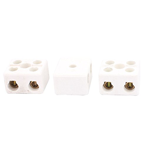 73 Cable Connector 2 Position 2 Row Ceramic Terminal Block, 220V, 30 Amp, 3 Piece (3 Row Cable)