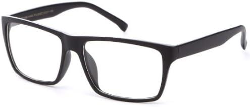 Newbee Fashion Classic Unisex Squared Fashion Clear Lens Eye Glasses & Sunglasses with Flash Lens