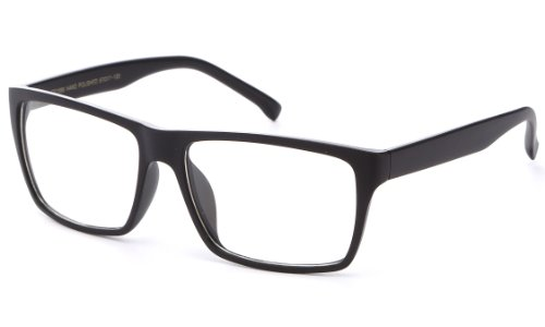 Newbee Fashion® - IG Unisex Retro Squared Celebrity Star Simple Clear Lens Fashion - Men Lens