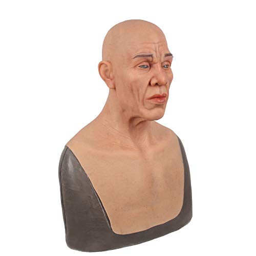 Real Old Male Masks Silicone Realistic Full Head Masquerade for Crossdresser Cosplayer Man mask Halloween Costume Party]()