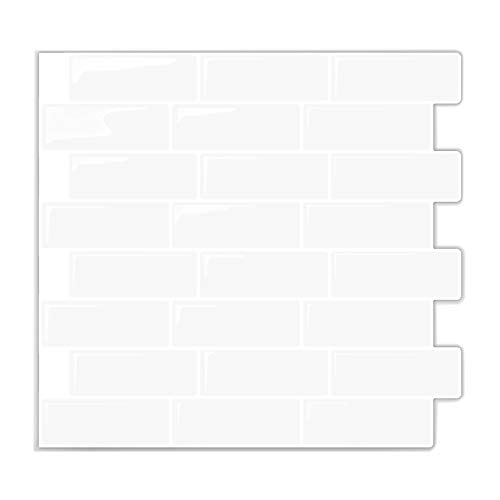 "In-The-Dot Self Stick Backsplash Tile Bathroom and Kitchen Wall | Peel and Stick, Stick-On Backsplash Sticker Tile - Anti-Mold Decal -10"" x 10.5"" (10-Sheet Pack) - Off White with Touch of Gray Tone"