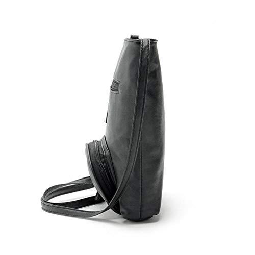 Mujer Black Bolsos de One Size Bolsos Embrague Brown de Cuero Dark de Hombro de pwtUZqRO