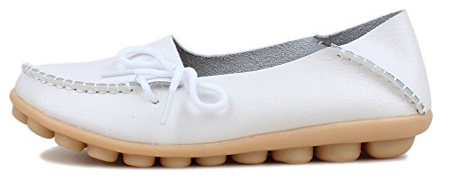 Kunsto Womens Leather Casual Loafer Flat Shoes White dysdHnrMR