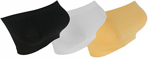3x Damen Bandeau Neon Farben Top Body Sport Bh GoGo trägerlos Bustier bt1 schwarz/beige/weiss
