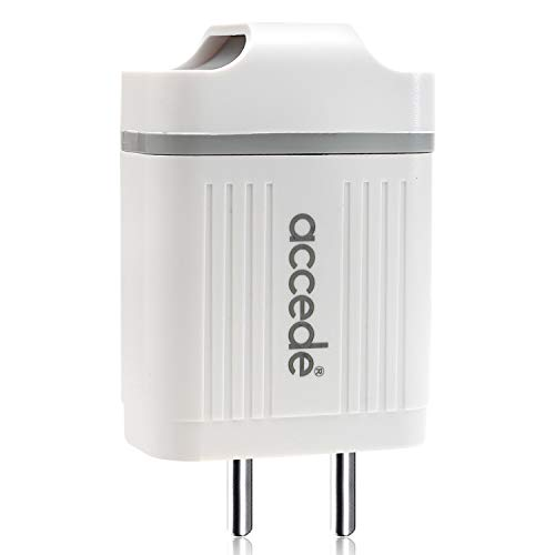 Accede FastEX 3 Port USB 4.8A Wall Charger with Micro USB Sync  amp; Charging Cable for Mobiles  amp; Tablets  White