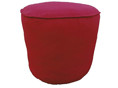 100% Cotton Plain Piping Round Ottoman Throw Pouf Cover (20''Wx16''H, Burgundy)COVER ONLY, Not Stuffed , Insert not Included by Saffron