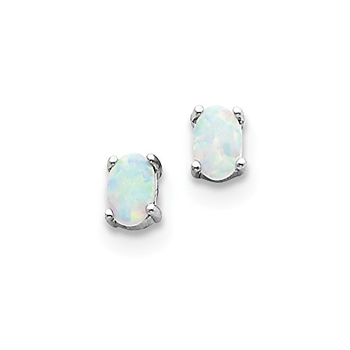 ium Plated Synthetic Opal Post Earrings. (6MM Long x 4MM Wide) ()