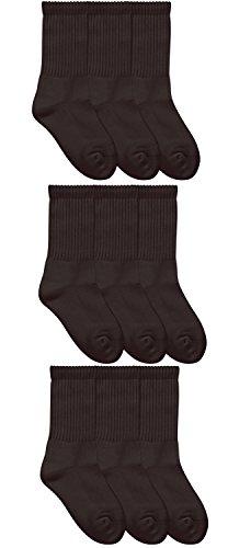 - Jefferies Socks Boys Girls School Uniform Seamless Half Cushion Crew Sport Socks 9 Pair Pack (M - USA Shoe 12-6 - 5-10 Years, Black)
