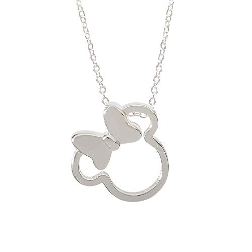 Disney Minnie Mouse Silver Plated Silhouette Pendant Necklace, 18 Inch Chain, Mickey's 90th Birthday Anniversary; Jewelry for Women