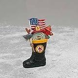 "3"" Patriotic American Fireman Firefighter Boot Christmas Ornament"