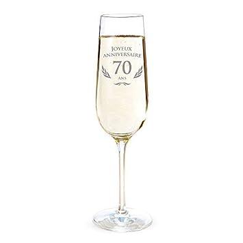 Idee Cadeau 70 Ans.Amavel Flute De Champagne Avec Gravure Pour Les 70 Ans Cadeau D Anniversaire Pour Hommes Et Femmes Idee Cadeau Pour Femmes Verre A Champagne