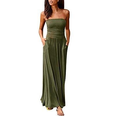 Dressin Women's Sleeveless Dress Racerback Loose Plain Off Shoulder Maxi Dresses Casual Long Dresses with Pockets
