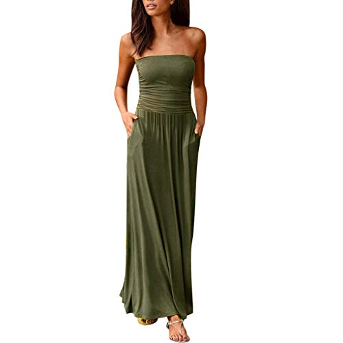 TIFENNY Tube top Long Dresses for Women Bandeau Holiday Off Shoulder Maxi Dress Ladies Summer Solid Loose Dress Green
