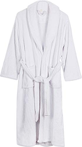 (Women's Fleece bathrobe- Shawl Collar ultra-soft spa robe- Comfortable, absorbent and Durable -by NY THREADS (White, Medium))