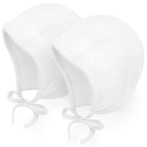 Happy Tree 2 Pack Baby Hat Bonnet Soft 100% Combed Cotton Infant Toddler Beanie Pilot Caps, White + White, Small