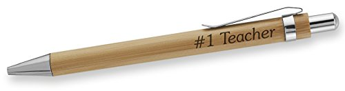 Dimension 9 Eco-Friendly Laser Engraved Personalized Bamboo Name Ballpoint Plunge-Action Pen with Chrome Accents - #1 Teacher (BBPEN-#1 Teacher)