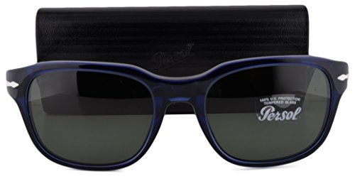 Persol PO3112S Sunglasses Blue w/Green Lens 18131 PO3112 For - Mcqueen Persol Sunglasses