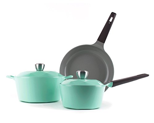 Neoflam Carat 5-Piece Ceramic Nonstick Cookware Set, Fresh Green