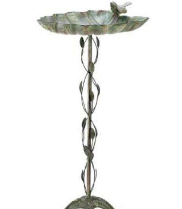 SKB Family Verdigris Leaf Birdbath Valley Broad metalwork Antique Decoration Wrought Iron by SKB-family