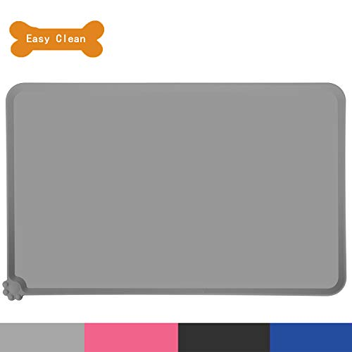 (HOOSUN Pet Food Mat, Pet Silicone Bowl Mat, Pet Feeding Mat, Waterproof Dog Cat Mat Premium Silicone Food Grade Non-Stick Non-Slip Anti-Spill Easy Clean (Gray))