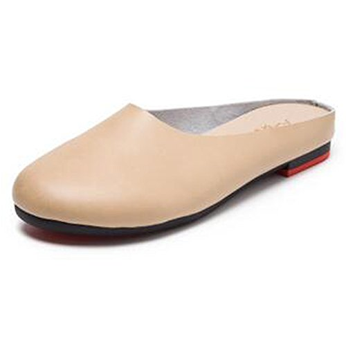 Sunrolan Para Mujer De Cuero Informal Slip-on Exterior Sin Respaldo Slipper Mula Loafer Flats Zapatos De Color Blanco