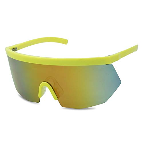 Super Oversize Flat Top Geometric Single Shield Neon Visor Sunglasses Mirror Lens (Neon Yellow | Fire Red Lens) ()