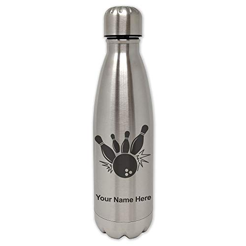 SkunkWerkz Water Bottle, Bowling Ball and Pins, Personalized Engraving Included (Pin Bowling Personalized)