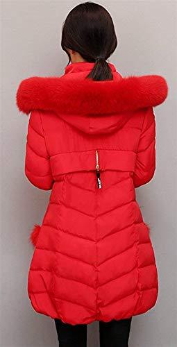 Giaccone Rot Lunga Caldo Giacca Giubotto Invernali Fit Donna Piumino Cappuccio Con Abbigliamento Slim Monocromo Cerniera Manica Laterali Tasche wa1SSTq