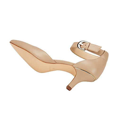 JENN ARDOR Women Kitten Heel Pumps Ladies Closed Pointed Toe DOrsay Ankle Strap Dress Stiletto