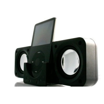 Black Mini iPod Speakers for iPod Nano 3rd Generation, iPod Touch, iPod Classic, iPod Video, iPod Nano, iPod Photo, Creative Zen Vision M, Sandisk Sansa, Microsoft Zune, Microsoft Zune 2 Portable Tavel Folding Speakers