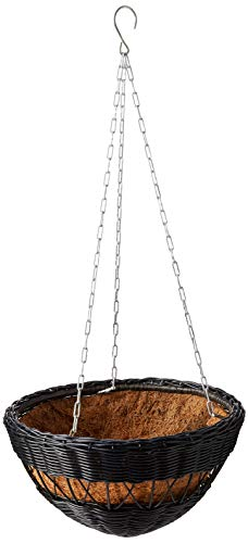 DMC Products 13-Inch Resin Wicker Hanging Basket with Chain Hanger, Black