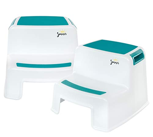 2 Step Stool for Kids (2 Pack) | New Teal Color | Dual Height Toddler Step Stool for Potty Training & Kid Step Stool for Kitchen and Bathroom Sink | Slip Resistant Grip for Safety | - By Ashley Summer