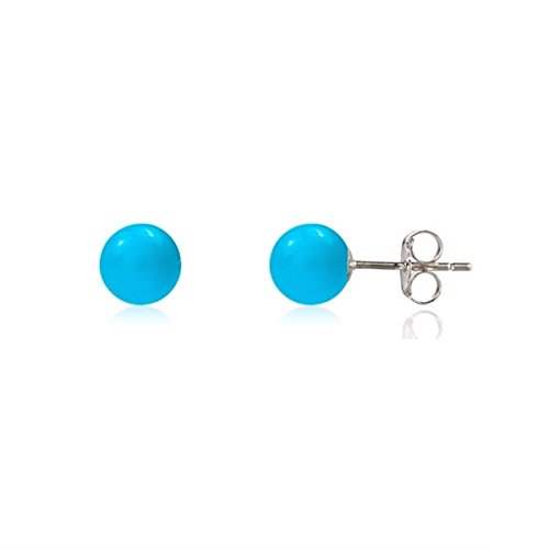 - Sterling Silver 925 Blue Turquoise Imitation Stud Ball Round Earrings 6mm