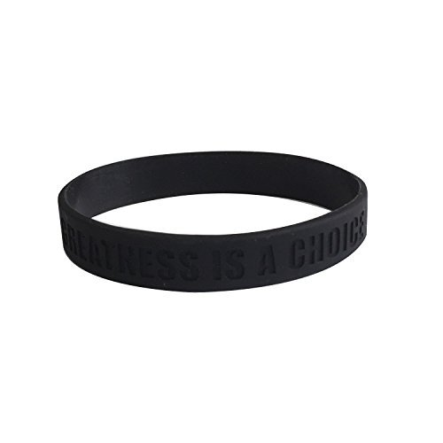 GOMOYO Greatness is a Choice, Create Who You Want to Be Silicone Wristbands with Quote, Rubber Bracelets for Fitness, Workout, Basketball, Weight Training