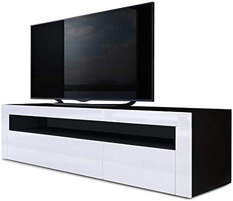 Mesa Baja para TV Valencia, Cuerpo en Negro Mate/Frente en Blanco ...