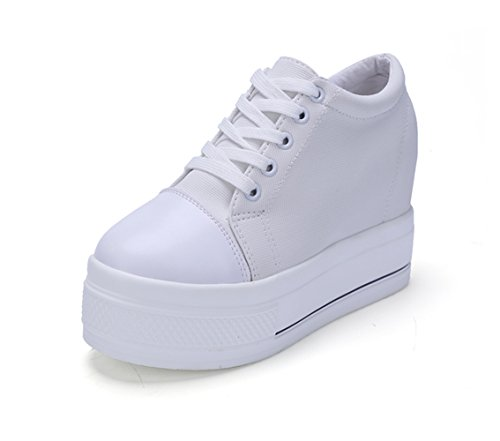 Womens Increased Within Shoes Wedge Platform Sneaker Lace Up Canvas(White,8) -