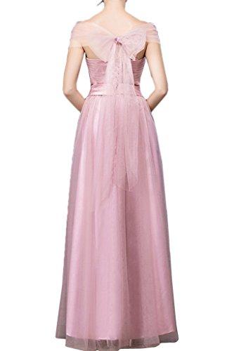 sunvary elegante una línea vertical de cuello con lazos vestidos de fiesta Prom Fiesta Rosa