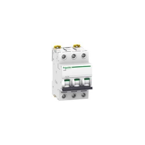 Schneider Electric A9°F75306Ic60N Disjoncteur, Acti9, courbure D, 3P, hauteur 85mm x 54mm de largeur x 78.5mm Profondeur, courant de 6A, 50/60Hz, Blanc courant de 6A 50/60Hz A9F75306