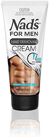Nad's for Men Hair Removal Cream – depilación sin dolor para hombres, Crema depilatoria, 6.8 Ounce (1 Pack)