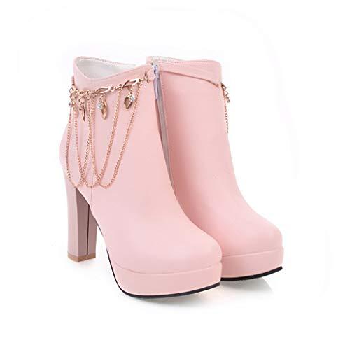 Stivali Stivali Stivali da Donna con CXQ CXQ CXQ Tacco Basso a Pink Punta Tacco Stivaletti Warm EZqwwtd