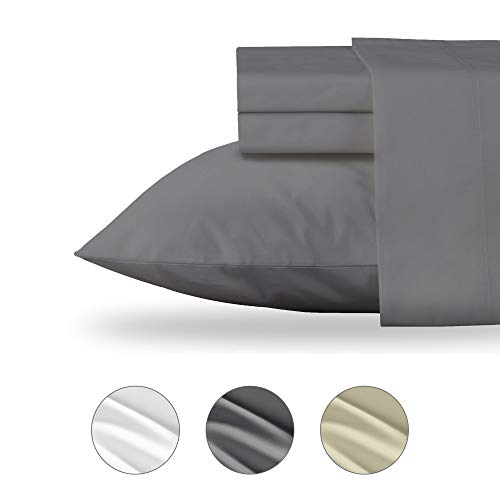 (Luxury Collection Organic Cotton Sheets - 4 Piece Percale Bedding Set - Long Staple Cotton Sateen Sheets - Cool Crisp GOTS Certified Fabric - 1 Fitted Sheet, 1 Flat, 2 Pillow Cases, King Size Grey)
