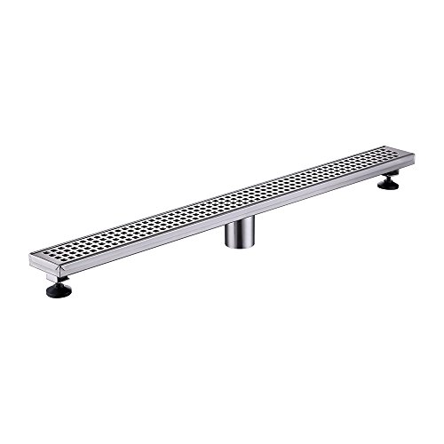- KES Long Linear Shower Floor Drain with Removable Grate Strainer SUS 304 Stainless Steel Bathroom Drainer 32-Inch RUSTPROOF Brushed Finish, V256S80-2