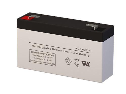 6 Volt 1.4 Amp Hour Sealed Lead Acid Battery Replacement with F1 Terminals by SigmasTek SP6-1.2