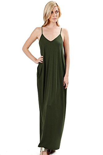 with Loose Maxi Summer Army Premium Casual Zenana Side Cami Plain Pockets Green Women's Long Dress Beach RUPwnxCw
