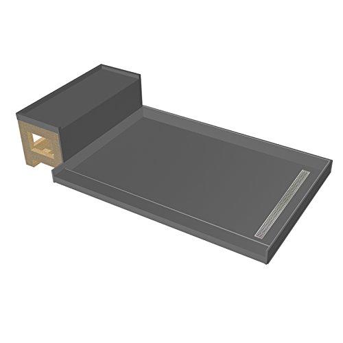 Tile Redi BaseN Bench Single Threshold Shower Base with Bench and Designer Grate